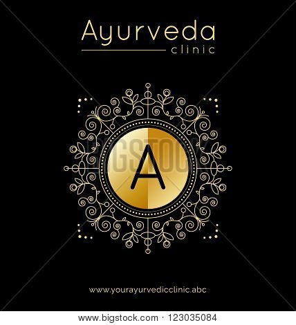 Ayurveda vector illustration. Logo template for ayurvedic clinic or center. Monogram with floral ornament for SPA yoga studio beauty salon. Poster design with calligraphic elements. Gold texture.