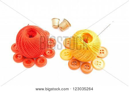 Balls Of Yarn, Thimbles And Plastic Buttons