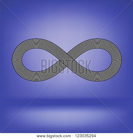 Striped Infinity Icon Isolated on Soft Blue Background