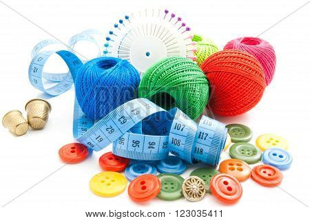 Meter, Plastic Buttons, Thimbles And Thread