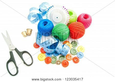 Scissors, Meter, Colored Buttons, Thimbles And Thread