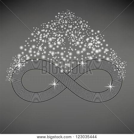 Striped Infinity Icon Isolated on Light Gray Background