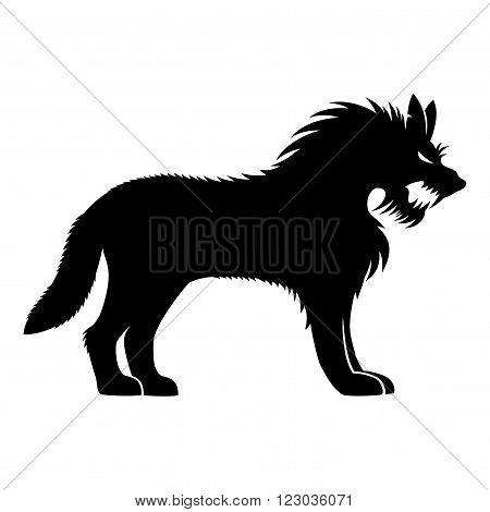 Werewolf black sign on a white background.