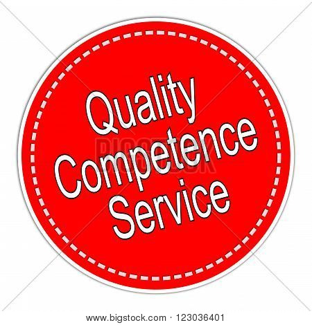 red Quality Competence Service sticker on white background