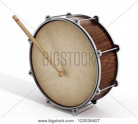 Wooden drum with stick isolated on white background