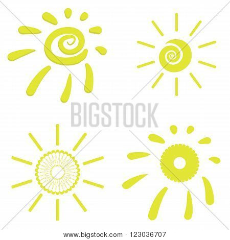 Yellow Sun Icons Isolated on White Background