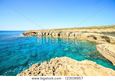 Beautiful cliffs and arches in Aiya Napa, Republic of Cyprus