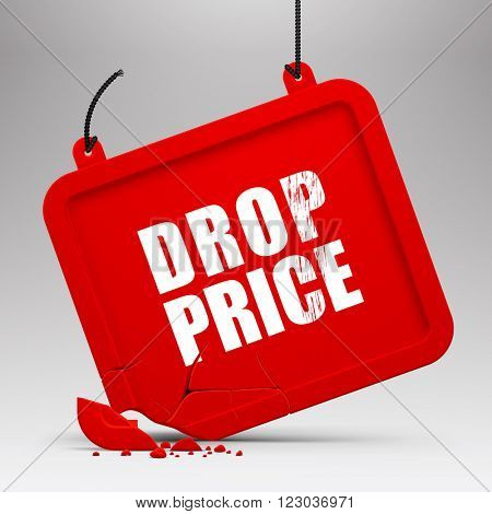 Fallen red signboard against a light gray background. Drop price, sale design template. Vector illustration