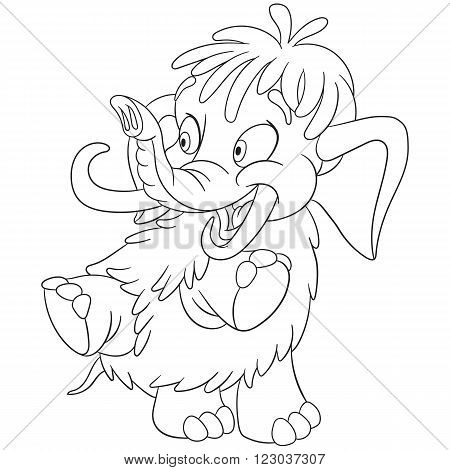 cute and happy cartoon mammoth isolated on a white background