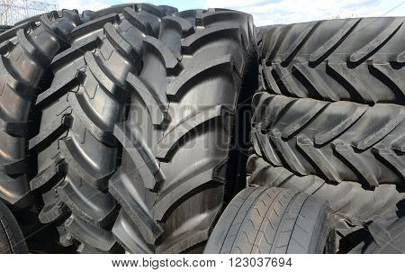 Tires stacked in a yard on   in Sofia, Bulgaria