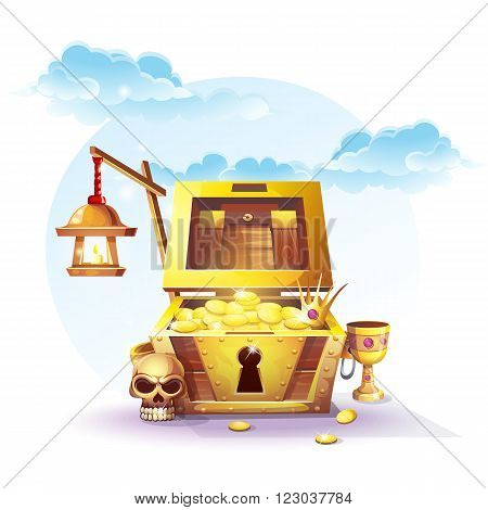 Chest of gold and a lantern in the sand under the blue clouds - vector illustration for design banners flyers textures backgrounds