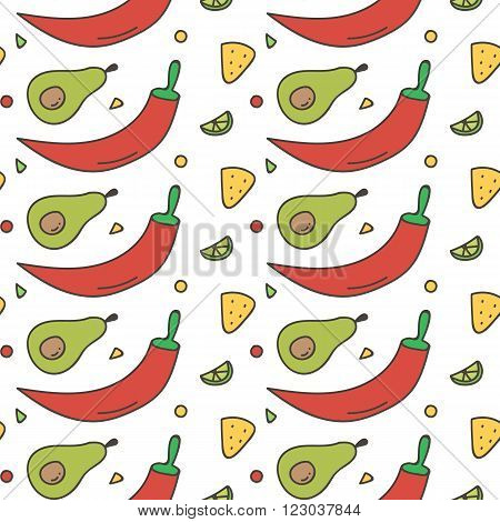 Colorful Mexican food seamless pattern background. Hot chili pepper, avocado, nachos and lime background.