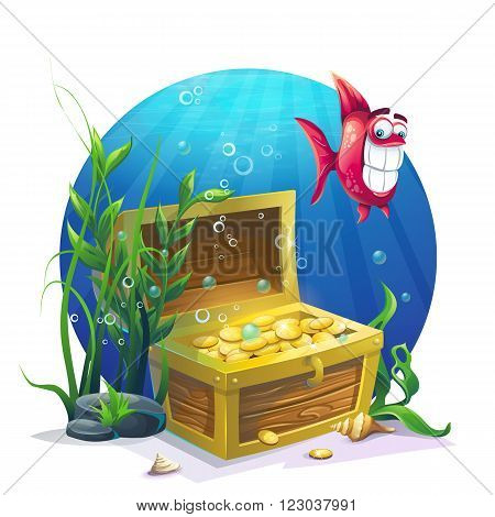 Chest of gold and fish in the sand underwater - vector illustration for design banners flyers textures backgrounds