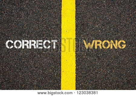 Antonym Concept Of Correct Versus Wrong