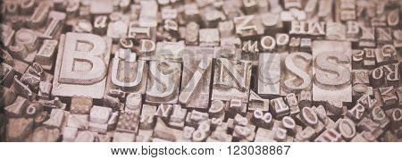 Close Up Of Typeset Letters With The Word Business