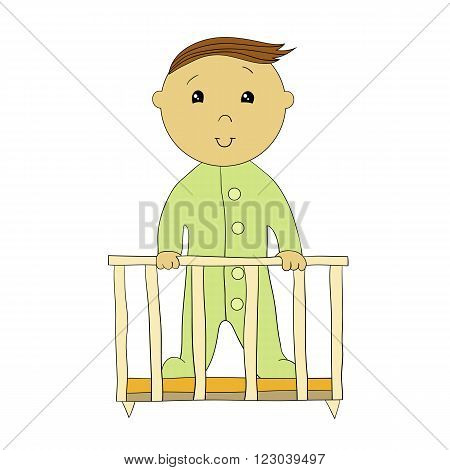 Vector illustration: a little boy standing in the playpen