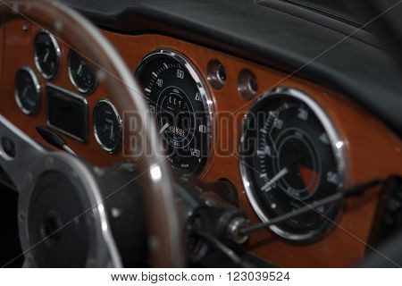 Classic car, steering wheel, speedometer, car dials