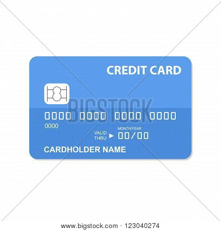 Flat design credit card isolated on white background.