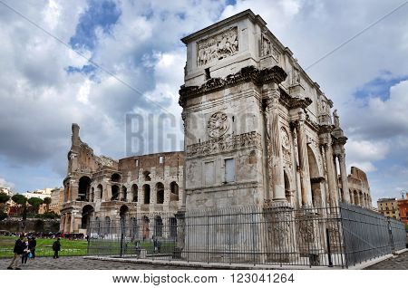 Arch Of Constantine Near The Colosseum In Rome, Italy
