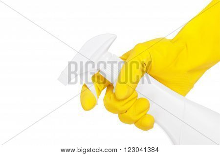 hand with sprayer isolated on white .