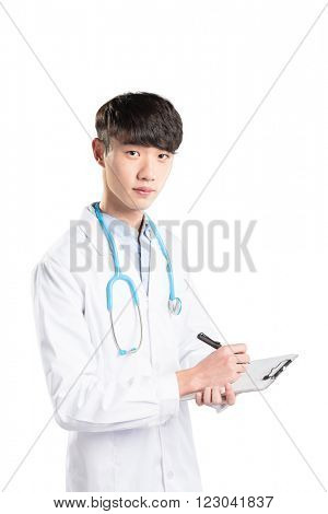 young handsome asian man doctor works in hospital