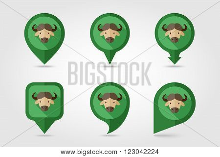 Buffalo bull bison ox flat pin map icon. Map pointer. Map markers. Animal horned head vector symbol eps 10