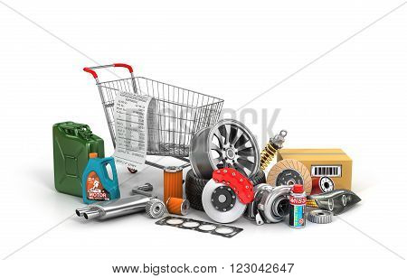 Concept of auto parts shopping. Many auto parts near shopping trolley isolated on a white background. Automotive basket shop.