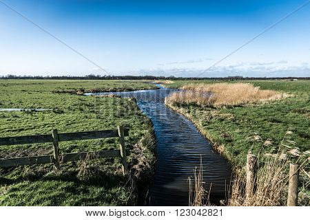 A Typical Dutch polder landscape with fields and ditches