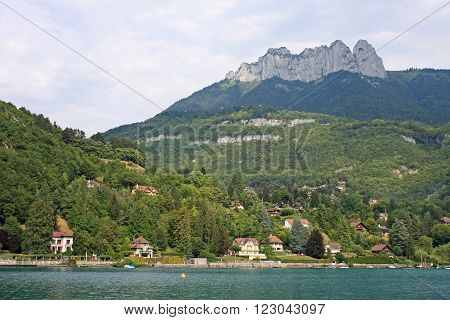 mountains of the French Alps above Lake Annecy ** Note: Visible grain at 100%, best at smaller sizes