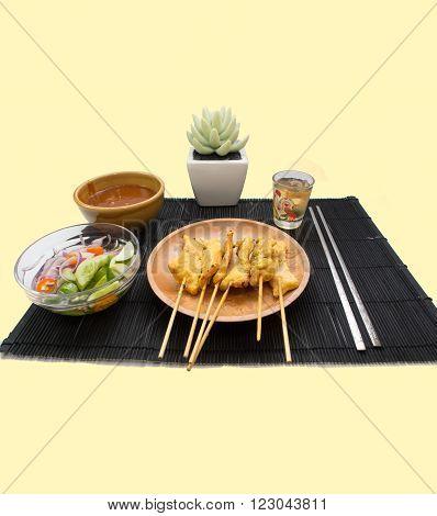 Pork Satay with Peanut Sauce. IsolateCopy space.Food set.