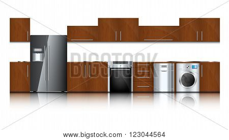 Kitchen and house appliances isolated on a white background