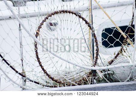 Fishing net drying. Background of a fishing net.