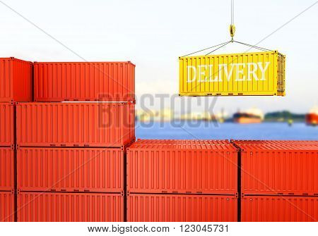 industrial port with containers Loading container against the backdrop of the sea port, 3D rendering