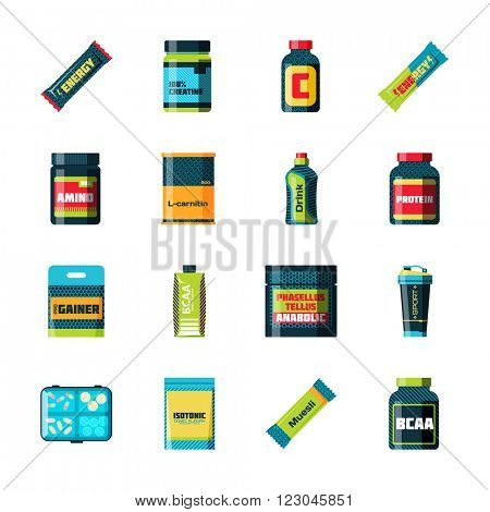Sports nutrition icons in flat style detailed vector illustration. Sports nutrition healthy food and sports nutrition fitness diet. Sports nutrition bodybuilding proteine power drink. Fresh protein.