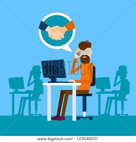 Casual Business Man Agreement On Phone Sit In Office Speak Success Conversation Handshake Icon Flat Vector Illustration