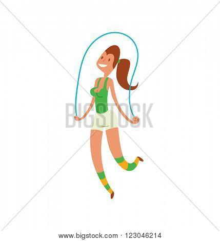 Smiling american girl exercising with jump-rope outdoors and girl with rope healthy fitness. Girl jumping rope. Young girl jumping rope fitness, sport, training, park and lifestyle concept vector.