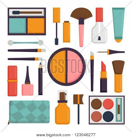 Makeup icons perfume mascara care brushes and makeup comb faced eyeshadow brushes. Makeup glamour accessory brushes. Various makeup vector. Vector set make up brushes and beauty fashion cosmetic icon.