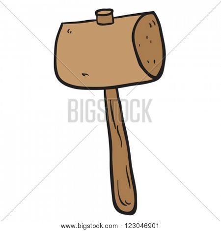 freehand drawn cartoon illustration of wooden mallet