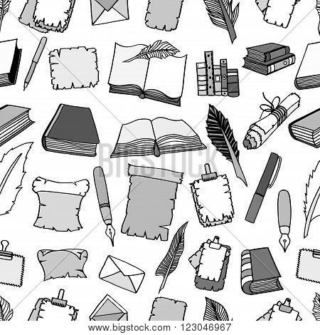 Seamless Hand Drawn Illustrations Pattern of Big Set Books and pen. Doodle vector illustration isolated on white background.