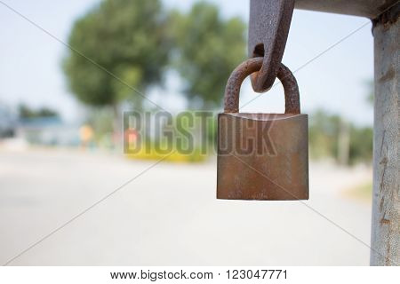 Gold Padlock. Selective focus is use on the padlock.