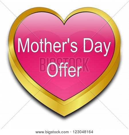decorative golden red Mother's Day offer heart