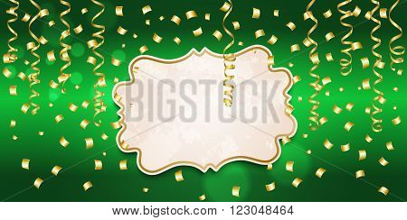 Template greeting card with streamers and confetti