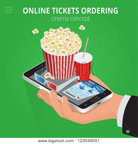 Online cinema tickets ordering. Concept order food and cinema tickets. Cinema tickets delivery online service. Flat 3d isometric vector illustration