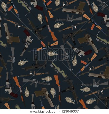 flat dark seamless pattern weapons in vector format eps10