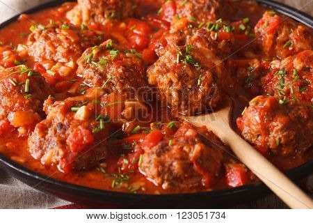 Albondigas meatballs with spicy sauce on a dish macro. horizontal