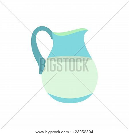Jug of milk icon in flat style isolated on white background