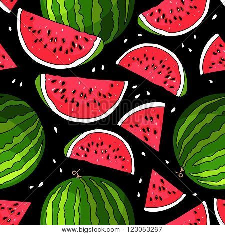 Seamless vector pattern of watermelon on a black background. Elements for design. Juicy watermelon summer fruit.