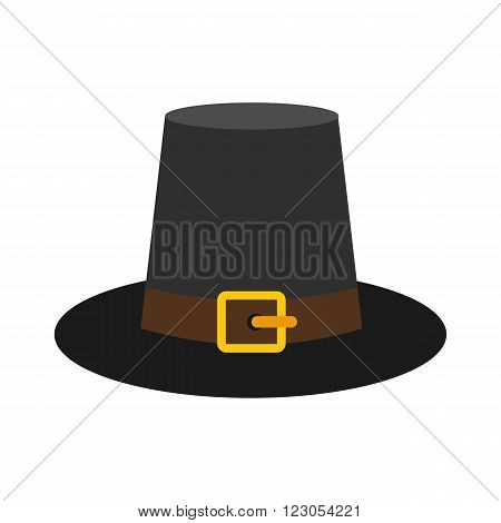 Gorgeous pilgrim hat icon in flat style isolated on white background