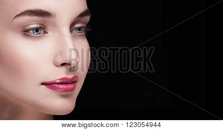 aesthetic beautiful portrait of a girl with blue eyes and red lips