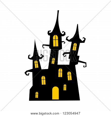 Dream castle icon in flat style isolated on white background